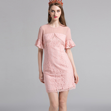 Topshop Mini Dresses Women 2017 Summer Pink / Yellow / Black Fashion Short Flare Sleeve Lace Mesh Patchwork Slim Novelty Dress