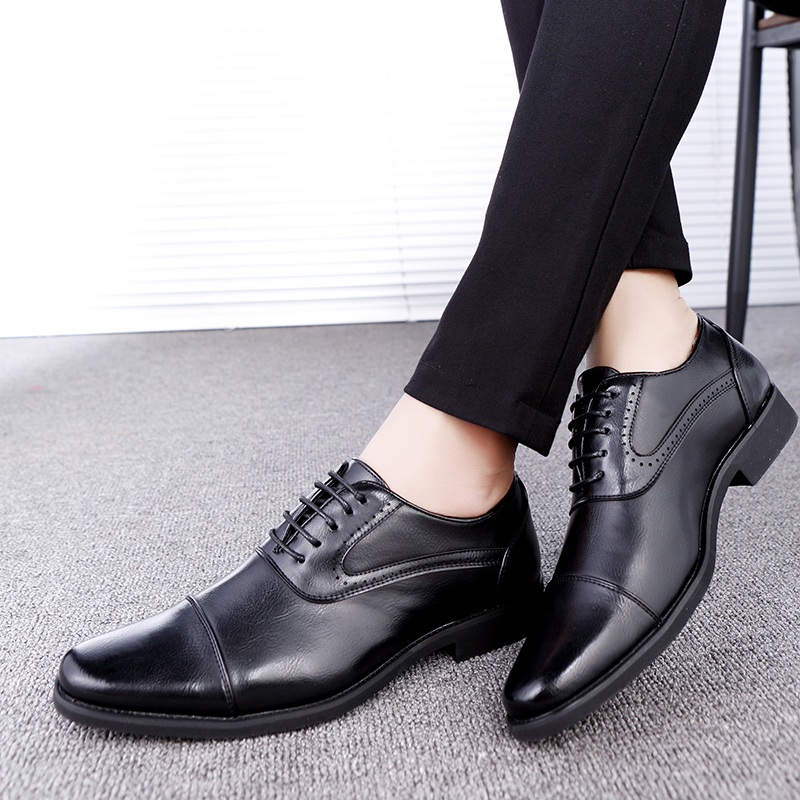 men spring working shoes luxury brand italian eurpean style pointed toe elegant male footwear dress working oxford shoes for men (12)