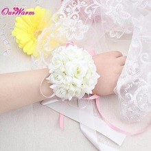 4pcs/lot Wrist Flower Silk Ribbon Bride Corsage Hand Decorative Wristband Bracelet Bridesmaid Curtain Band Clip Bouquet