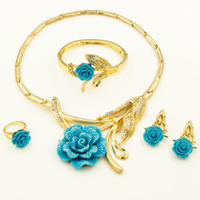 New Italy Golden Plated Austrian Crystal Flower Jewelry Sets African Dubai Women Wedding Jewelry Set Costume Necklace Earrings
