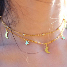 Infery Fashion Choker Chain Necklace Simple 2 Layer Star and Moon Satement Necklace For Women Jewelry Accessories 1N765(China)