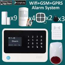 APP wifi GRPS push alarm alert message free home shop factory security system with strobe siren drive away theft(China)