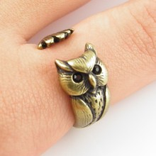 Min 1PC Lucky Owl Ring  Retro Jewelry Free Size Animal Ring Wrap  Adjustable Ring  Gift For Men