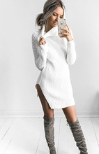 Women Autumn Winter Turtleneck Knitted Plain casual clubbing Party Sweater Tops Vestidos Size : S M L XL DY17329(China)