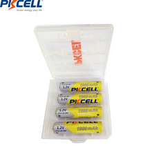 4Pcs PKCELL NIMH AAA battery 1.2V 1000mah Ni-MH Rechargeable Batteries Packed with 1 Piece Battery Box