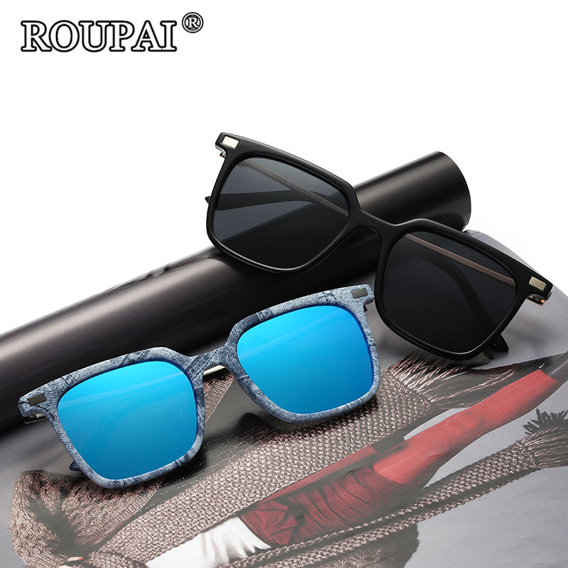 ROUPAI 2017 Luxury Brand Sunglasses Men Polarized Fashion Driving Vintage Squared Frame Male Sun Glasses 6 Colors Can Choose