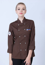 2017 New Women's Long Sleeve Chef Uniform Western Restaurant And Bread Baking Canteen Servers Working Wear Double Row Button(China)
