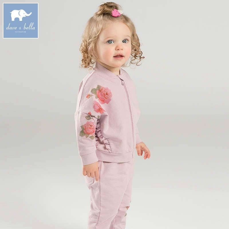 DB7125 dave bella spring infant baby girls fashion floral clothing sets children 2 pc toddler suit<br>