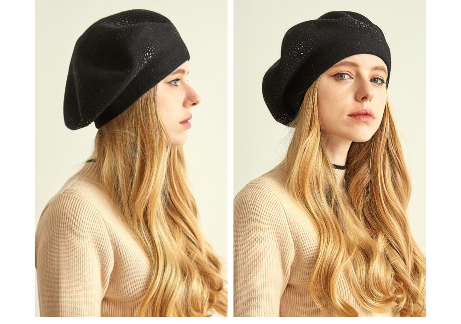 VIANOSI Wool Beret Female Winter Hats For Women Flat Cap Knit Cashmere Hats Lady Girl Berets Hat Female 17
