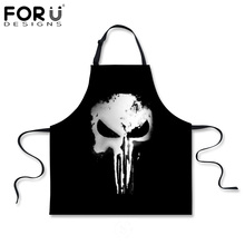FORUDESIGNS Novetly Kitchen Aprons Skull Cooking Sleeveless Apron For Women Black Chef Men's Boys BBQ Party Apron for Adults