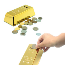 Novelty 999.9 Gold Bars Gold Bar Shaped Money Box Coin Bank Saving Pot (Golden)(China)
