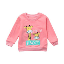 100% Cotton Newborn Infant Baby Boy Girl Giraffe Letter Tops Sweatshirt Outfits Clothes Set children clothing drop shoping(China)
