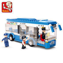 Sluban 0330 City Bus Building Blocks Compatible With Legoe DIY Enlighten Model Bricks Building Kit Education Toys Kids Gifts(China)