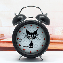 Cute Cat Metal Alarm Clock Desk Table Bedside Silent Clock with Light Children Students Alarm Clock Home Decor Christmas Gifts(China)