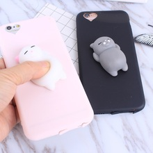 Squishy Cat Soft Phone Case for iPhone 5s SE 6 6s Cute Case for iPhone 8 7 6s 8 plus 3D Doll Phone Accessories Capa NEW(China)