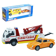 Alloy engineering vehicle road wrecker rescue truck acousto-optic toys children christmas gift kid car toys model 1:50(China)