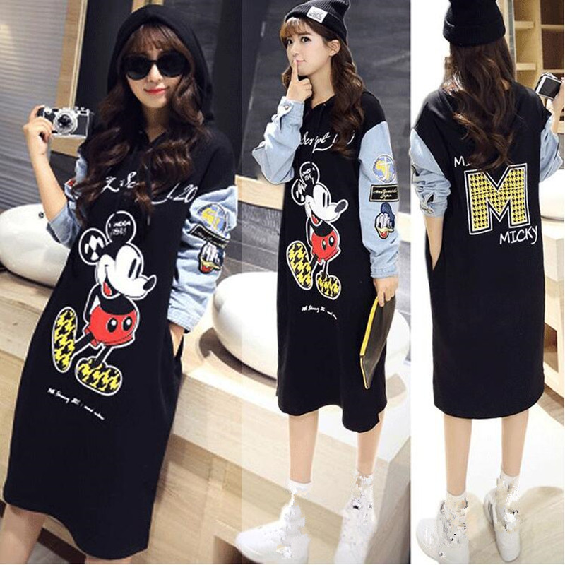 Autumn Maternity Hooded loose cotton Long Dress soft comfortable M-mouse Hoodie Dress Pregnant Women Maternity Clothes<br><br>Aliexpress