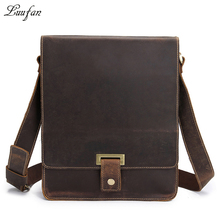 Men's genuine leather messenger bag A4 Hard crazy horse leather shoulder bag Vintage briefcase Vertical iPad casual bag(China)