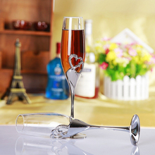 2016 Top Fashion Promotion Tazas 2pieces Set Champagne Flute 200ml Wedding Glasses Goblet Toast Silver Martini Glass Party Wine
