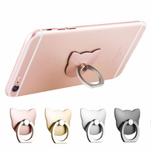 100pcs/lot 360 Degree metal Finger ring Phone holder cat Love glitter diamond for iphone grip mount cell Phone stand(China)