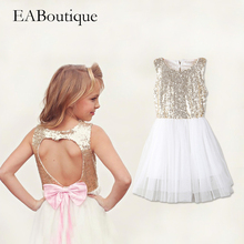EABoutique 2017 summer style vestidos bling paillette bow back design girls dress fashion wedding dress