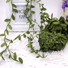 cheap 5 Meter Silk Nature Green Artificial Leaf Leaves Vine For Wedding Decoration Foliage Scrapbooking Craft Wreath Supplies