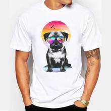 Hot Topic Men Newest 2018 Fashion Men Novelty Cool Summer Pug Printed Short Sleeve(China)