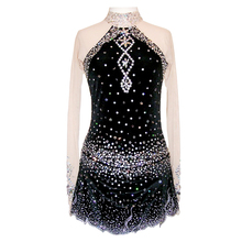 Customized Costume Ice Figure Skating Gymnastics Dress Competition Adult Child Girl Performance Black Whole Body Rhinestone