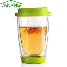 JANKNG Colorful Heat-resistant Double Wall Glass Cup with Silicon Cover and Bottom Clean Coffee Tea Glass Mug Handmade Drinkware