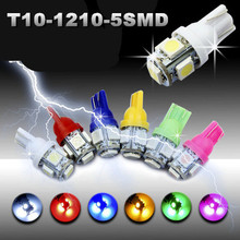 10x T10 194 168 1210 5SMD 5 LED T10 Bulb light 5 color Bulbs Dash Interior Turn Side Park Wedge Lights Bulbs Turn Lamps on car(China)