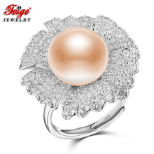 FEIGE Luxury Elegant Big Flower Pearl Ring 925 Sterling Silver Ring Bijoux 12-13MM Pink Freshwater Pearl Jewelry for Women Gift(China)