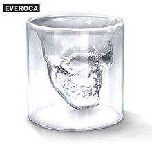 1 pc Doomed Skull Head Shot Glass Cup Beer Mug Wine Glass Mug Crystal Whisky Vodka Tea Coffee Cup 25ml~150ml Gift Water Bottle(China)