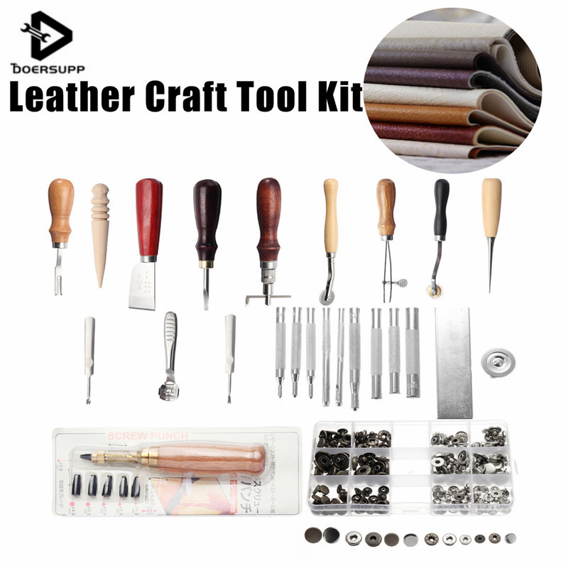 18 Pcs/Set Leather Craft Kit Stitching Carving Working Sewing Saddle Groover Leather Craft Punch Tools New<br>