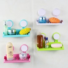 Plastic Wall Mounted Bathroom  Suction Cup Shower Soap Towel Storage Rack Kitchen Sponge Cleaning Brush Sink Holder