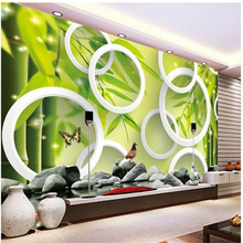 beibehang New style 3d stereoscopic wall paper murals TV background non-woven bamboo with circle wallpaper papel de parede