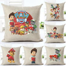 "18"" Cartoon Style Good Boys And Pets Cushion Cover Customized Throw Pillow Home Decorative Cotton Linen Square Printing Cojines"