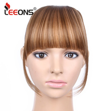 Leeons Black Brown Blonde Striaght Neat Bangs Clip In Synthetic Hair Extensions Real Natural Front False Fringe Hair Piece(China)