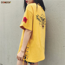 Hot!! Girl's fashion oversized t shirt harajuku punk rock short sleeve tee shirts women side lace up korean style tops clothes