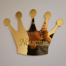 20X16cm Personalized Crown 1MM Arylic Mirror Sticker with Self-Adhesive Customize Birthday Decoration Boutique GIft and Favors