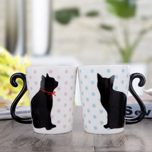 Couple Cute cat coffee mug Lovely Cat Tail Handle Mugs Cup Ceramic Coffee Tea Milk Drinkware Unique Porcelain Mugs(China)