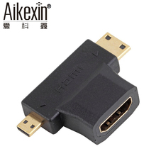 Aikexin High Speed 3 in1 Micro HDMI male+Mini HDMI male to HDMI 1.4 Female Cable Adapter Converter(China)