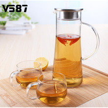 1800ml Juice Flower Teapot Glass Kettle Big Outlet Water Jug Heat Resistant Transparent Teapot Stainless Steel Strainer Drop Cup(China)