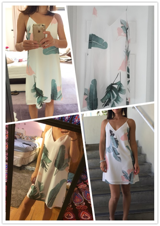 Sheinside White Cami Summer Dress Women Palm Leaf Print Double V Neck Casual Shift Dresses 17 Fashion Sexy Sleeveless Dress 9