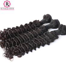 Deep Wave Brazilian Virgin Hair Extensions 100% Human Hair Weave Bundles Natural Black Color 1 Piece Rosa Queen Hair Products(China)