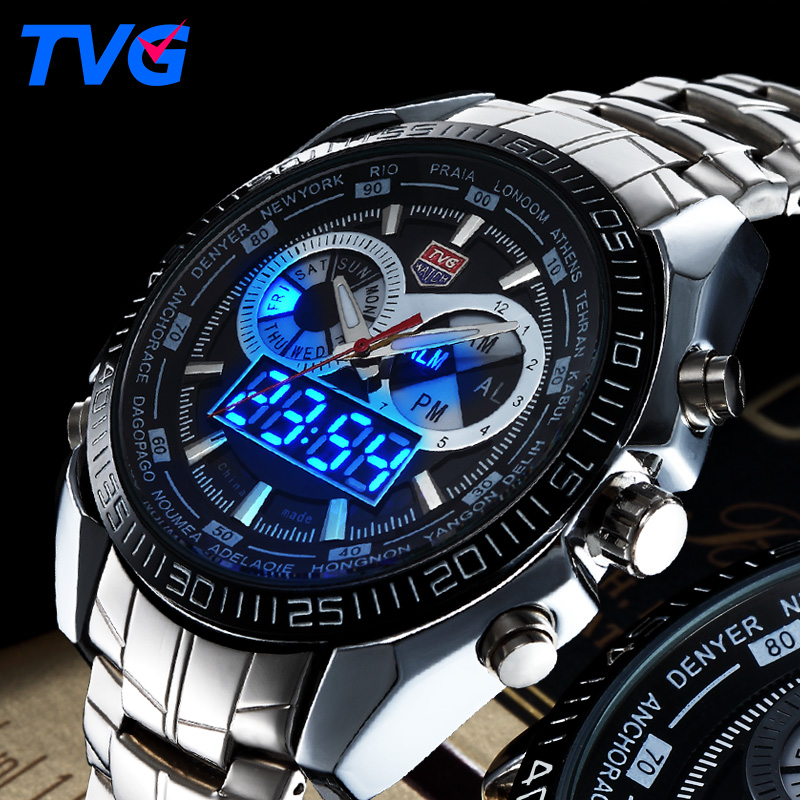 TVG Fashion Sport Men Watch luxury brand analog digital LED dual display stainless steel strap waterproof military quartz watch<br><br>Aliexpress