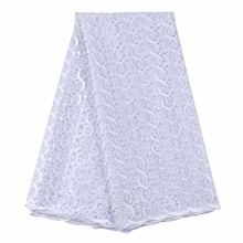 (5yards/pcs)Pure white simple design nigerian lace fabrics french net material for sewing african women party dress Apr-13-2017