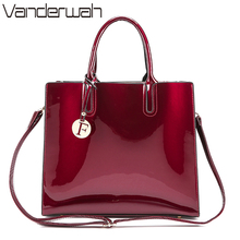VANDERWAH Brand Glossy Big Tote women bags High Quality Women's PU Leather Handbags Letter Shoulder Crossbody Bag Messenger Bags(China)