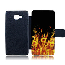 Luxury PU Leather Phone Case For Samsung Galaxy A3 A5 A7 2016 Case Fire Burning Dance Skull Flip Cover Card Holder with Magnetic(China)