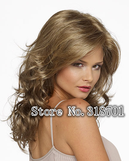 Long wavy light gold brown Synthetic Hair Wigs For Women fashion wig Free Shipping<br><br>Aliexpress