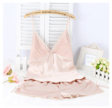 Plus Size Summer Satin Silk Pajamas Set Women Spaghetti Strap Shorts Sleepwear Femme Pyjama Home Clothing S M L XL XXL XXXL 5393